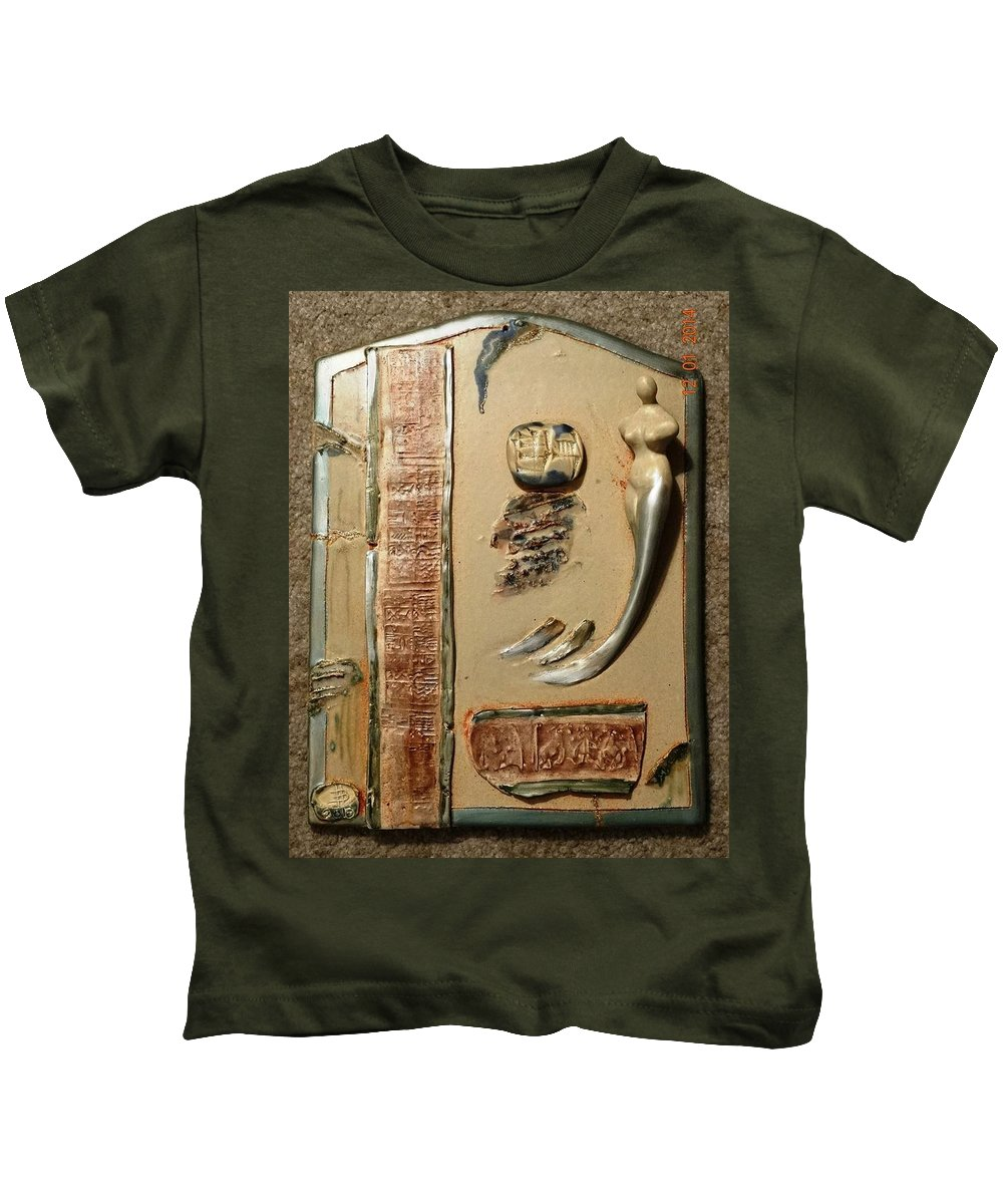 Kids T-Shirt featuring the ceramic art Stoneware Mural by Bassam Philip Bansit
