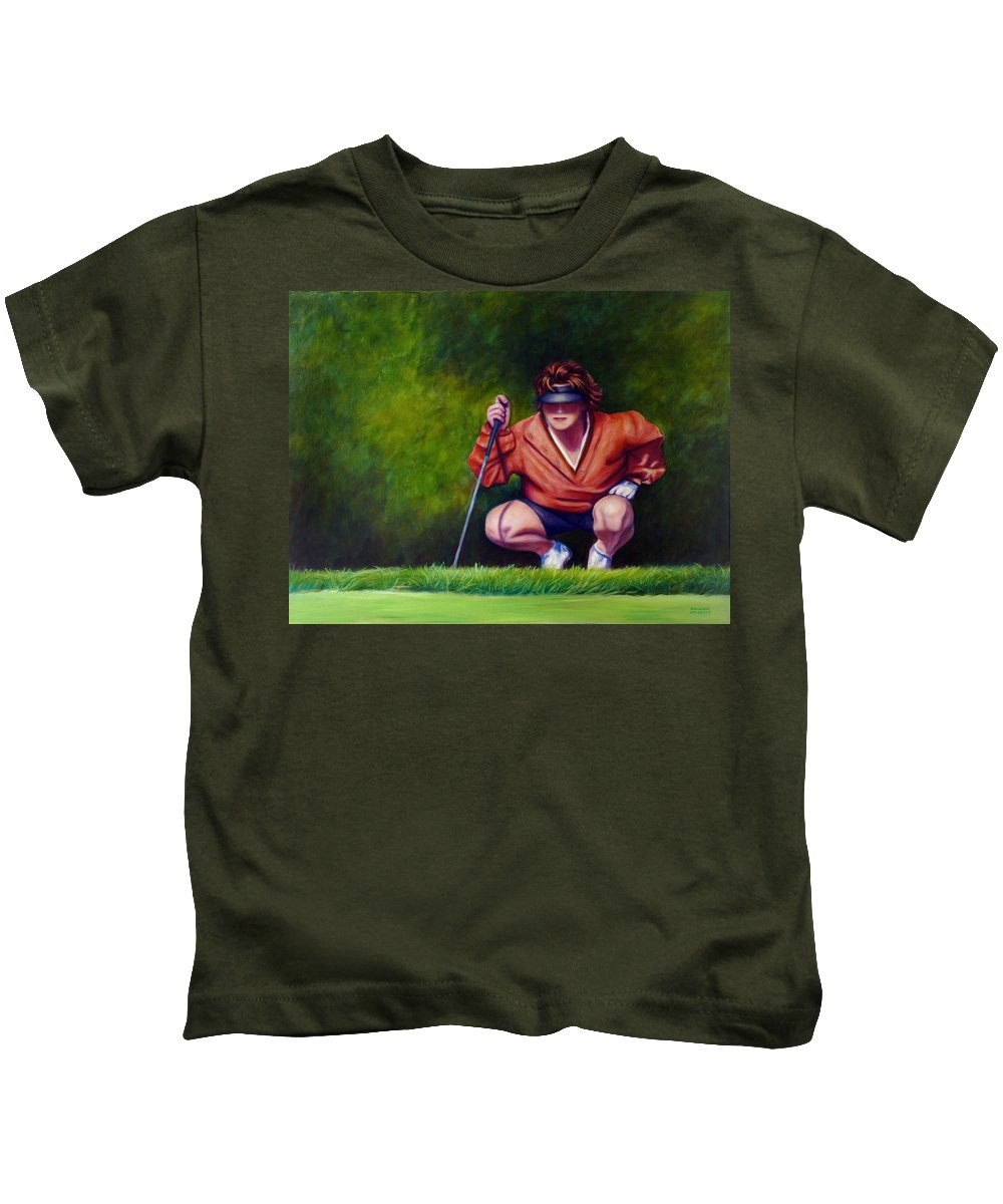 Golfer Kids T-Shirt featuring the painting Straightshot by Shannon Grissom