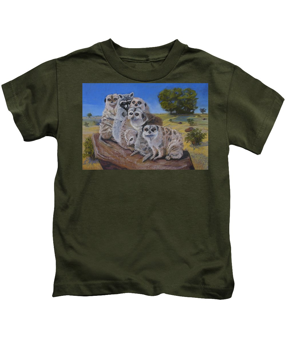 Meer Cat Kids T-Shirt featuring the painting Stranger In A Strange Land by Heather Coen