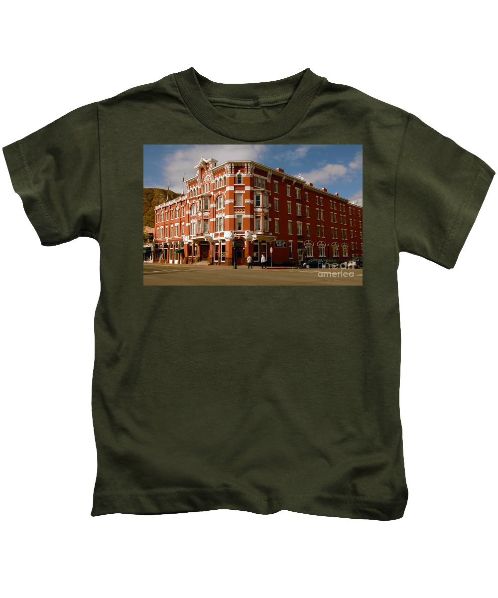 Strater Hotel Durango Colorado Kids T-Shirt featuring the photograph Strater Hotel 1887 by David Lee Thompson