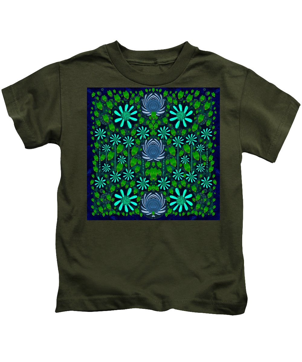 Strawberry Kids T-Shirt featuring the mixed media Strawberry Fantasy Flowers In A Fantasy Landscape by Pepita Selles