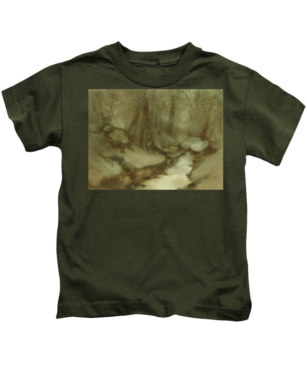 Forest Kids T-Shirt featuring the painting Trees By Stream by Ellen Palmer Legacy Art