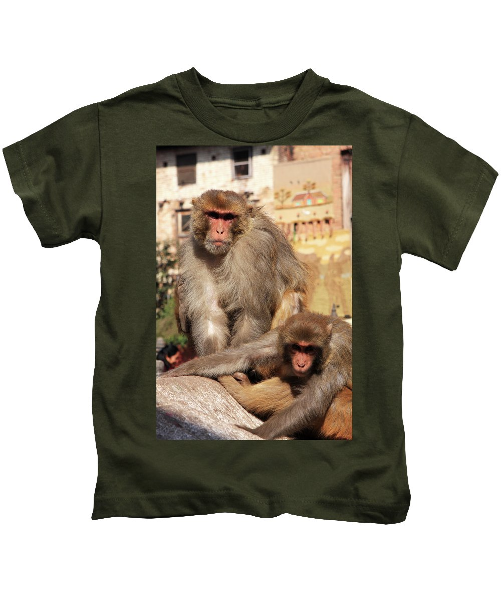 Animals Kids T-Shirt featuring the photograph Kathmandu Street Monkeys by Aidan Moran