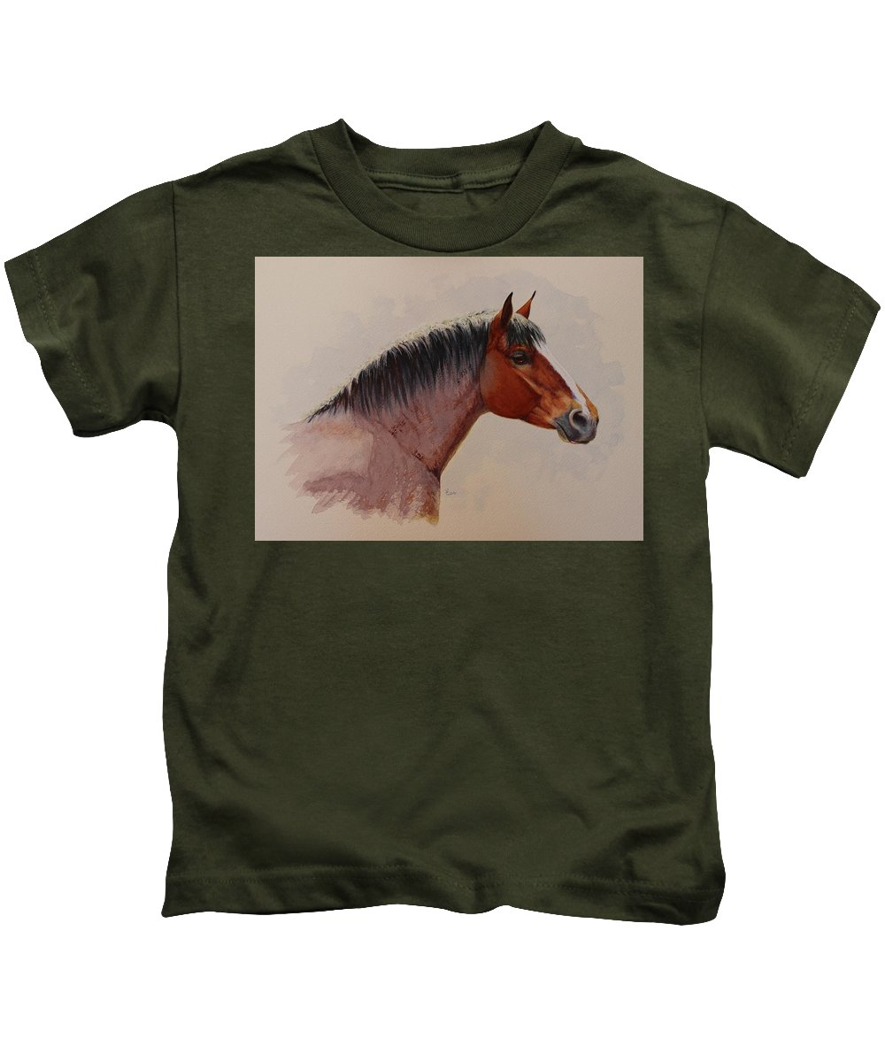 Draft Horse Kids T-Shirt featuring the painting Strength And Kindness by Valerie Coe