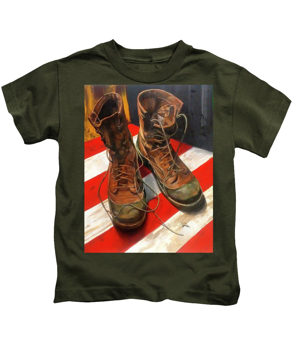 Marines Kids T-Shirt featuring the painting Strength Through Grace by Becky Brooks