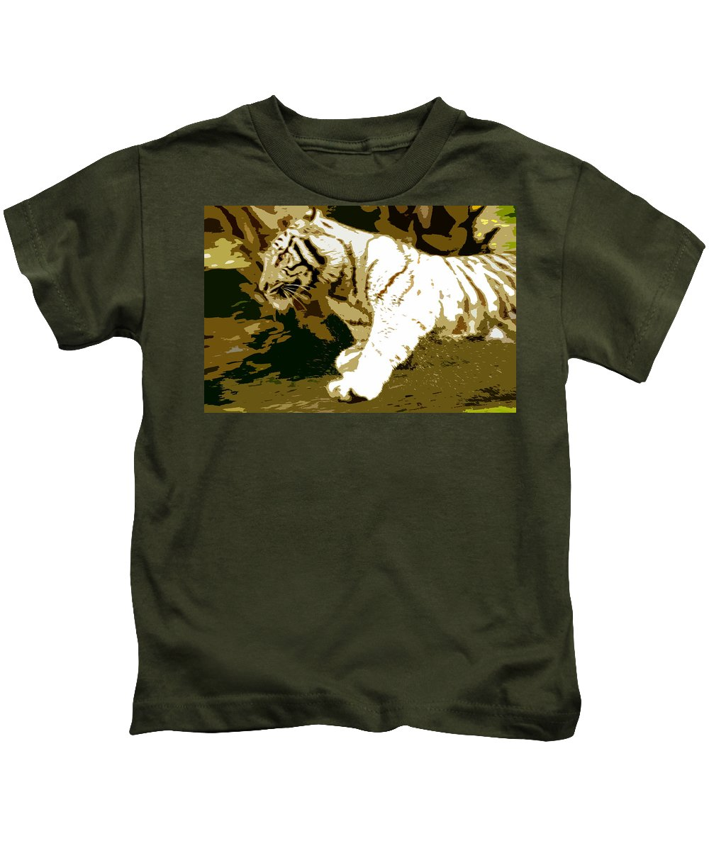 Tiger Kids T-Shirt featuring the painting Striking Tiger by David Lee Thompson