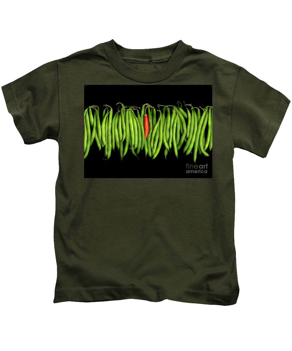 Culinary Kids T-Shirt featuring the photograph Stringbeans And Chilli by Christian Slanec