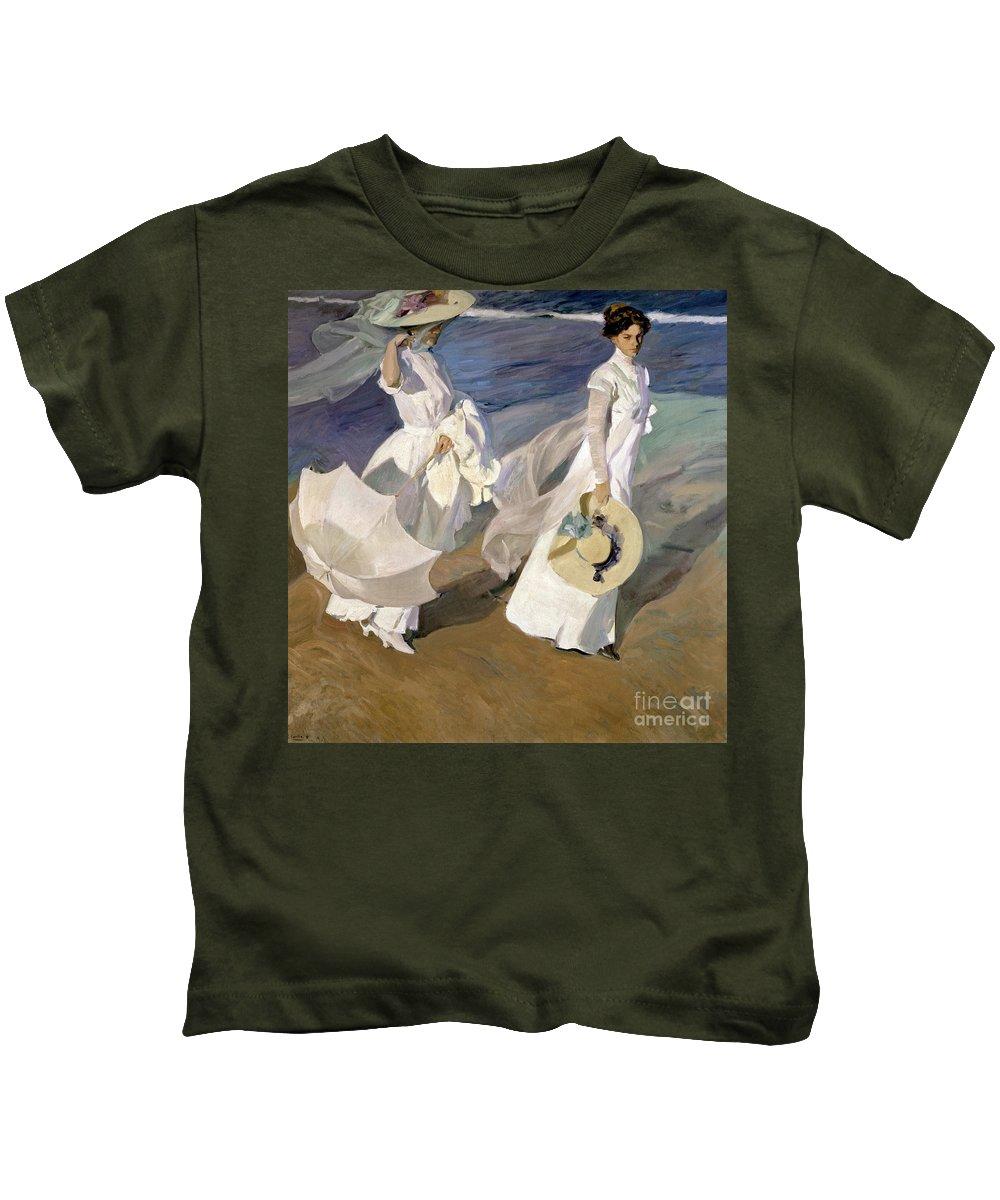 Sorolla Kids T-Shirt featuring the painting Strolling Along The Seashore by Joaquin Sorolla y Bastida