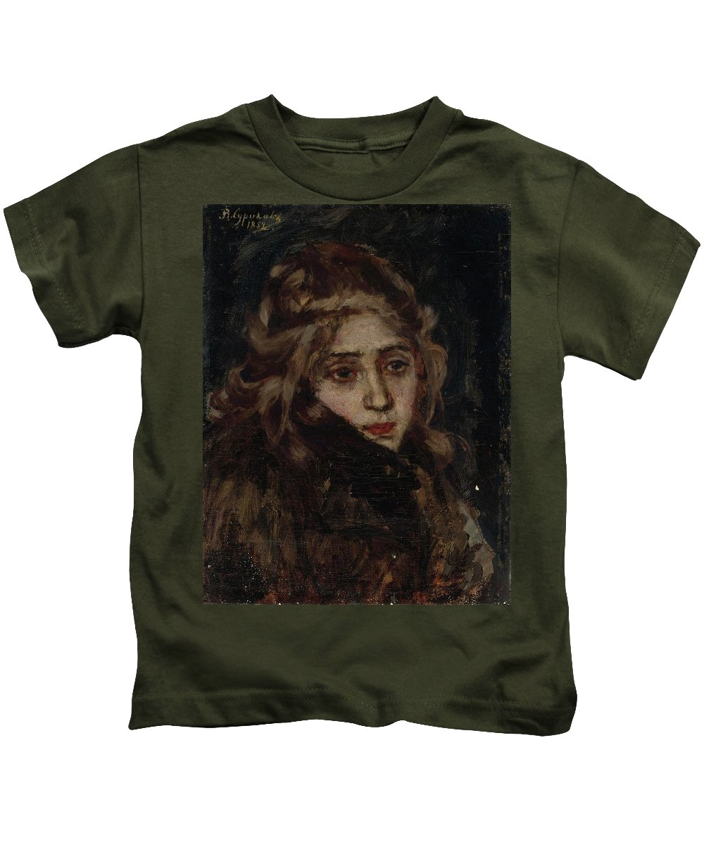 Vasili Ivanovich Surikov 1848-1916 Study For Menshikov At Beriozov Kids T-Shirt featuring the painting Study For Menshikov At Beriozov by MotionAge Designs