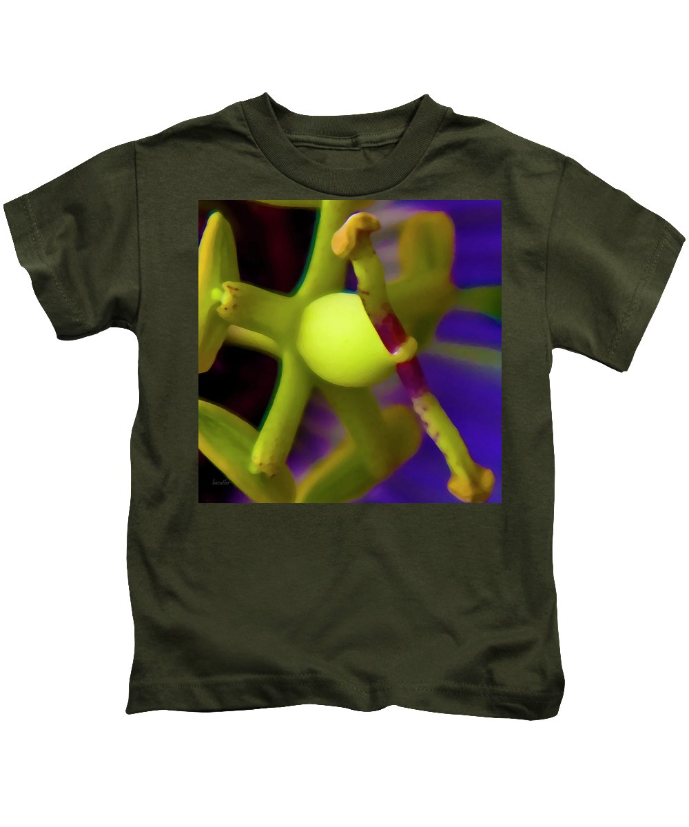 Passion Fruit Kids T-Shirt featuring the digital art Study Of Pistil And Stamen by Betsy Knapp