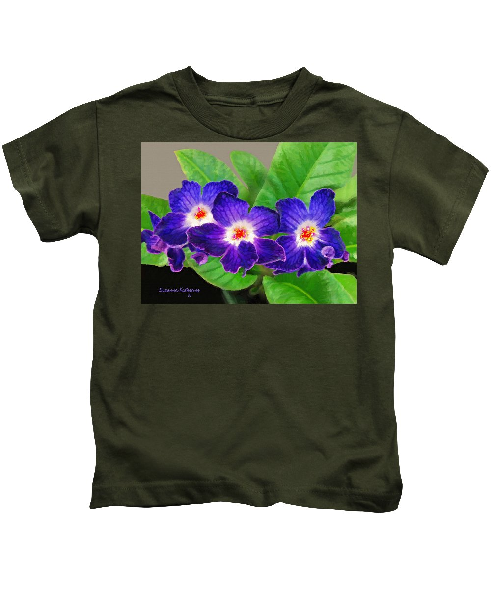 Flowers Kids T-Shirt featuring the painting Stunning Blue Flowers by Susanna Katherine
