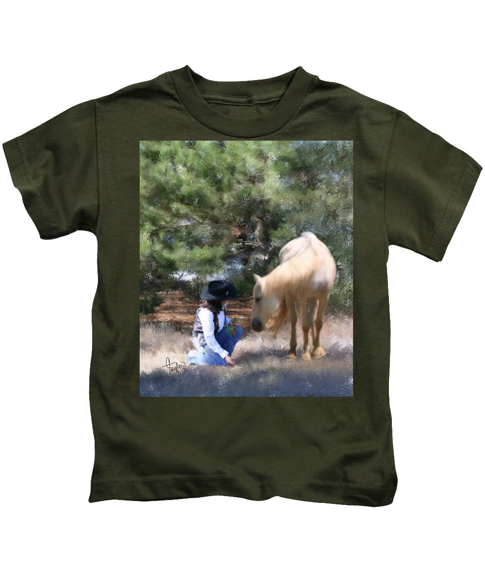 Cowgirl Kids T-Shirt featuring the painting Sugar N Spice by Colleen Taylor