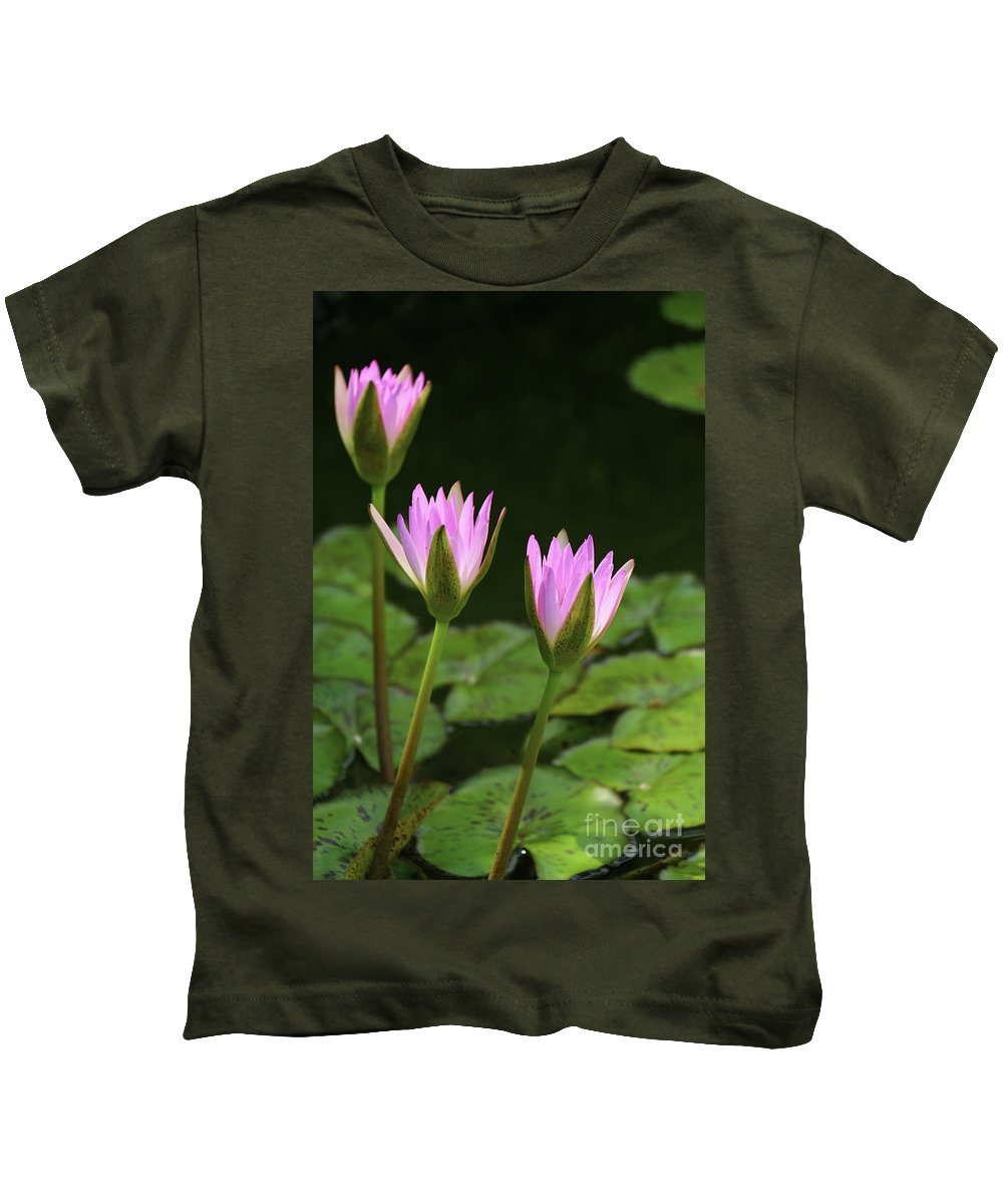 Pink Waterlily Kids T-Shirt featuring the photograph Summer At The Pond by Christiane Schulze Art And Photography