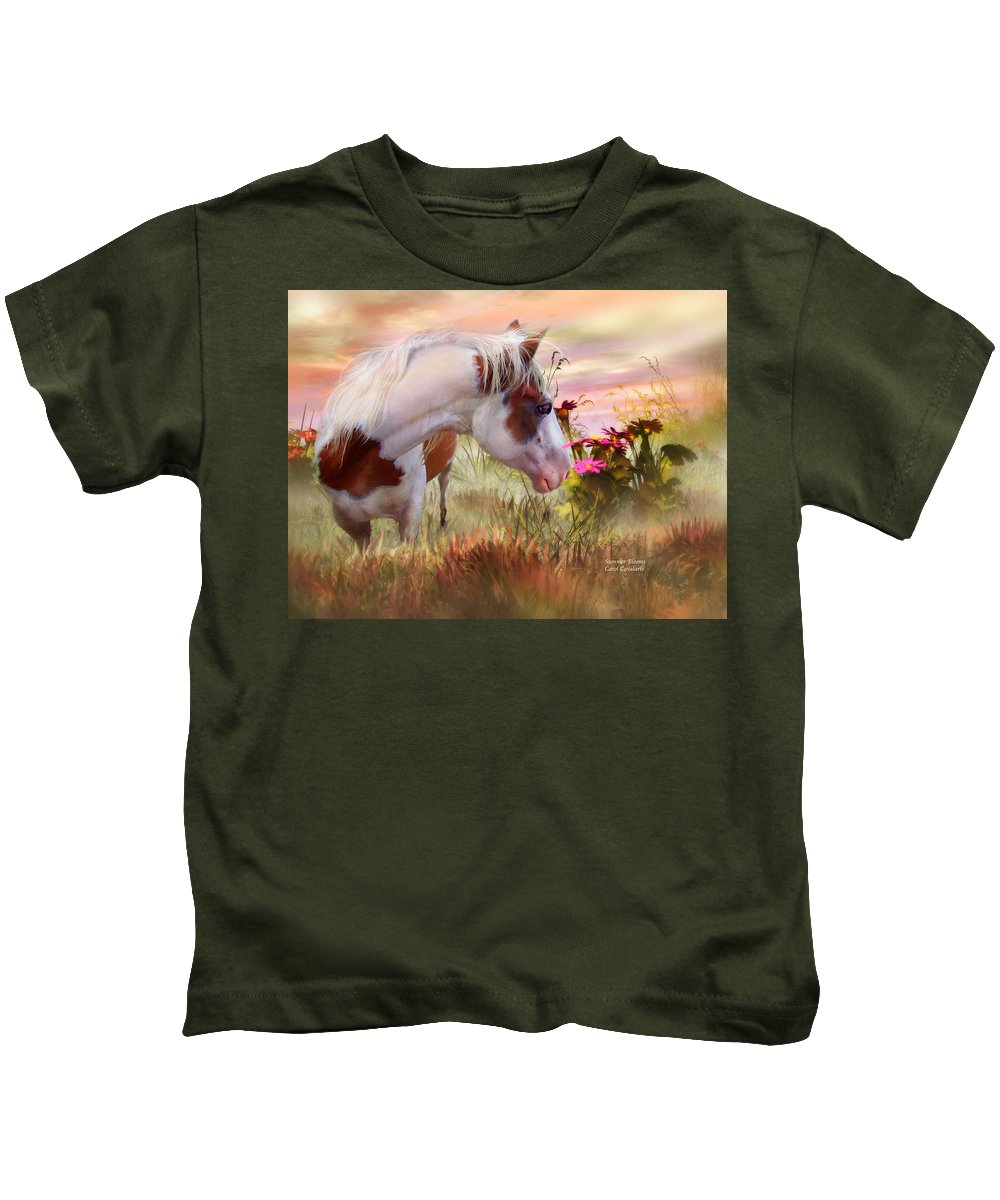 Horse Kids T-Shirt featuring the mixed media Summer Blooms by Carol Cavalaris