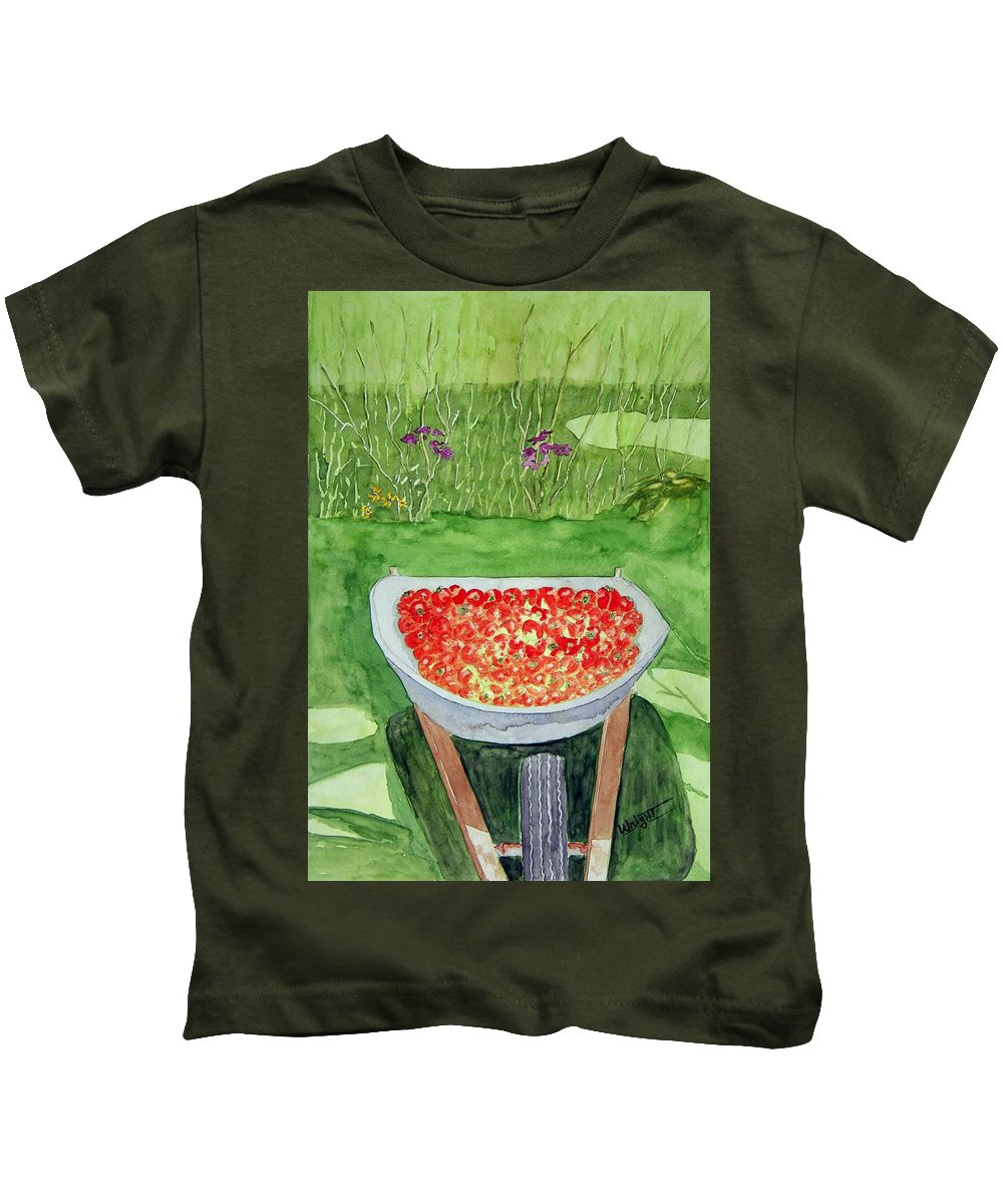 Rural Paintings Kids T-Shirt featuring the painting Summer Bounty by Larry Wright