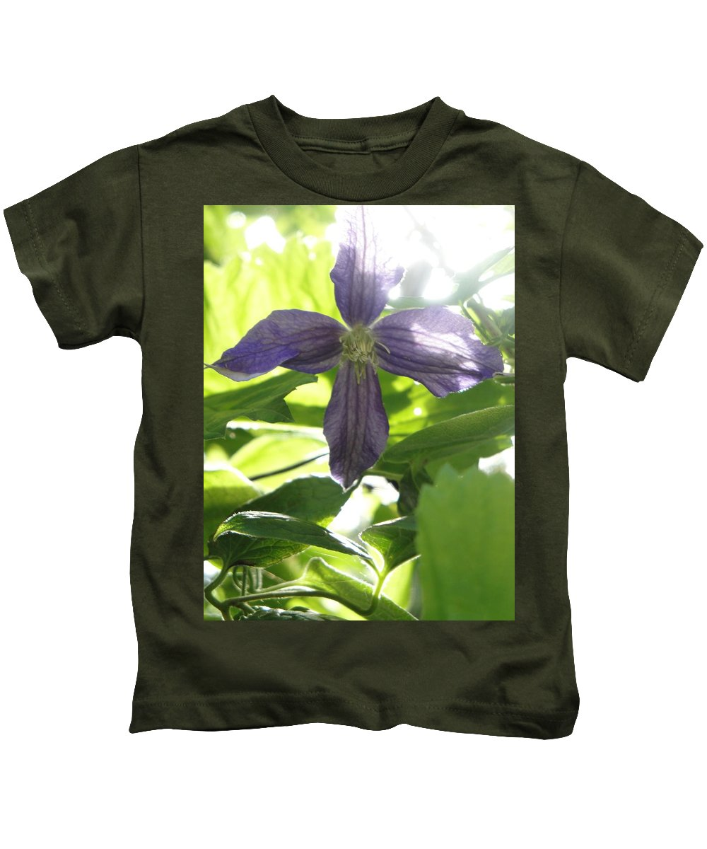 Flora Kids T-Shirt featuring the photograph Summer Clematis In Light Shade by Susan Baker