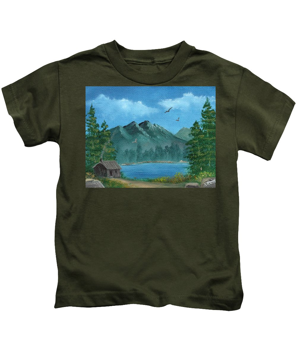 Landscape Kids T-Shirt featuring the painting Summer In The Mountains by Sheri Keith