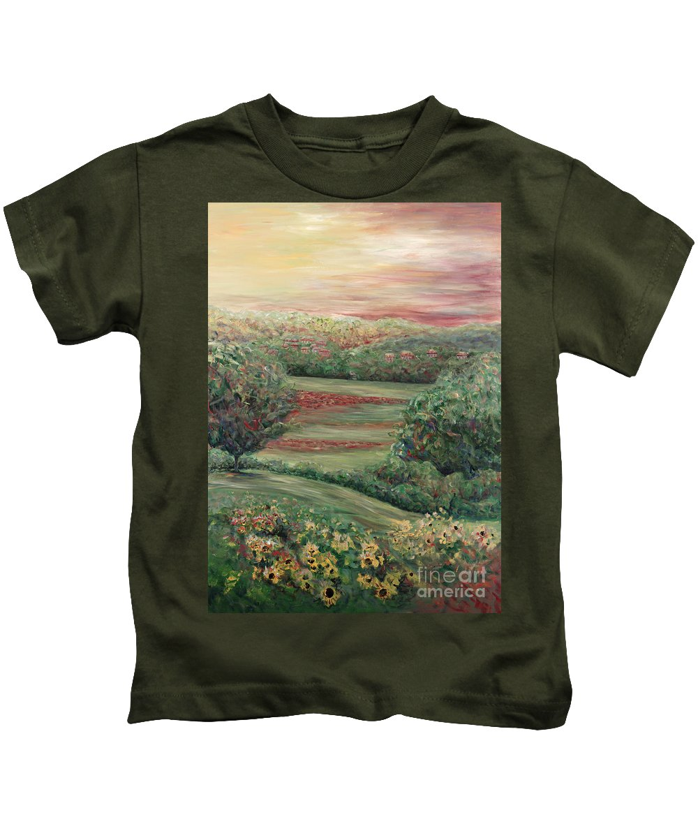 Landscape Kids T-Shirt featuring the painting Summer In Tuscany by Nadine Rippelmeyer