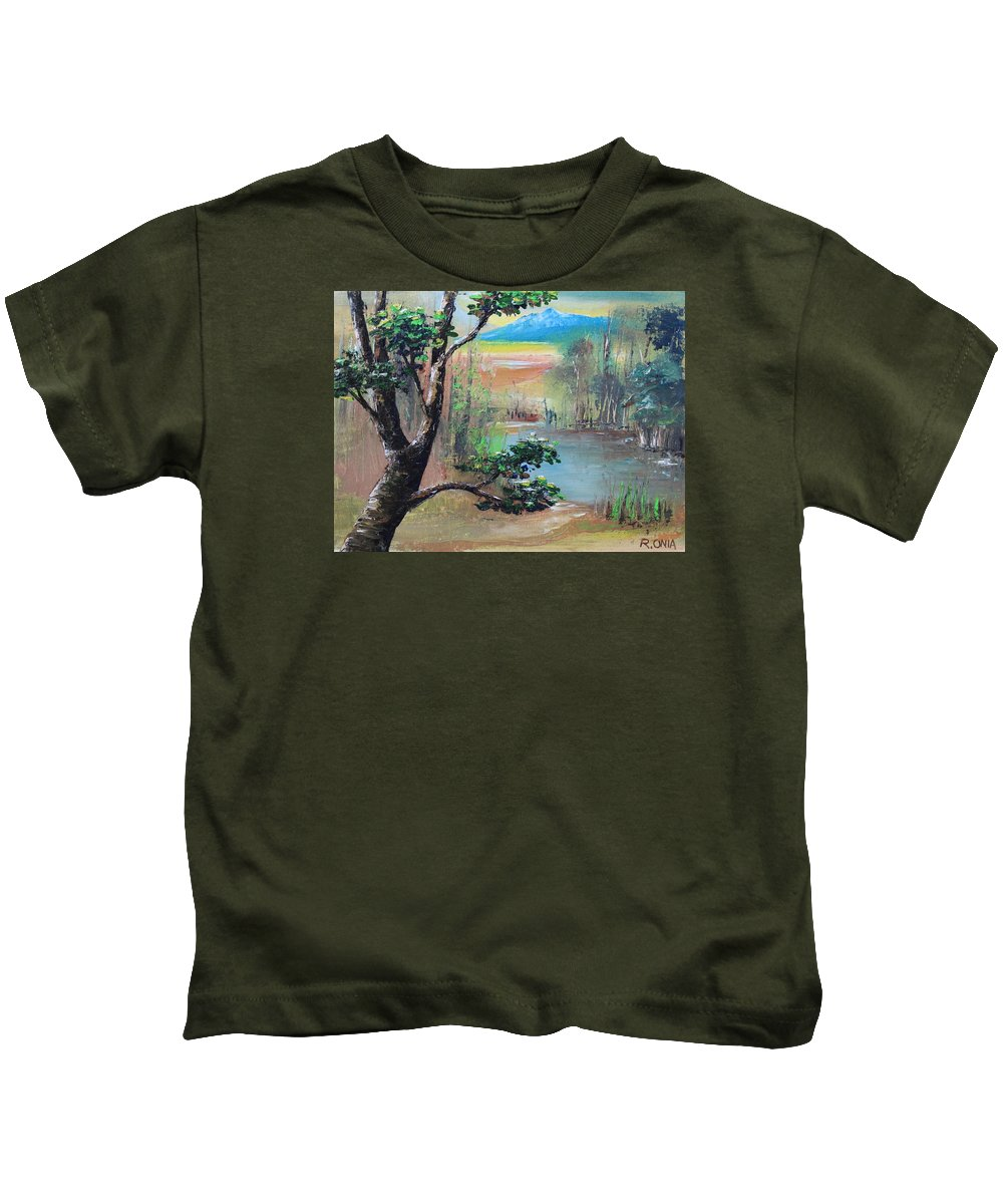 Tree Kids T-Shirt featuring the painting Summer Leaves by Remegio Onia