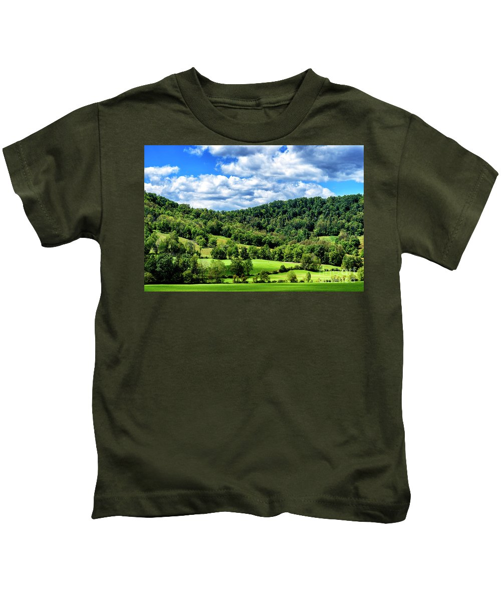Summer Morning Kids T-Shirt featuring the photograph Summer Morning Meadow And Ridge by Thomas R Fletcher