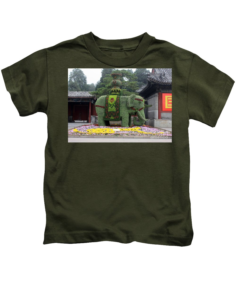 Summer Palace Kids T-Shirt featuring the photograph Summer Palace Elephant by Carol Groenen