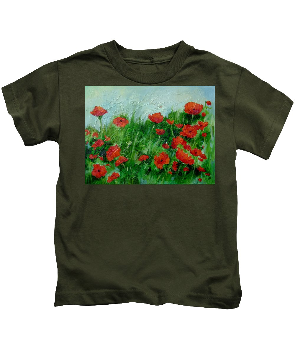 Red Poppies Kids T-Shirt featuring the painting Summer Poppies by Ginger Concepcion