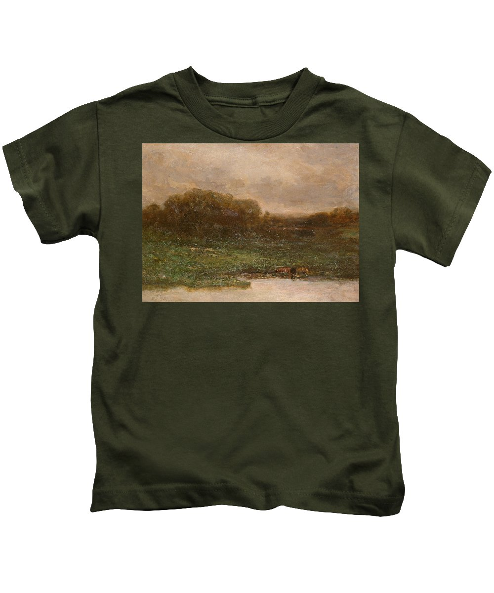 Edward Mitchell Bannister Kids T-Shirt featuring the painting Summer Twilight by Edward Mitchell Bannister