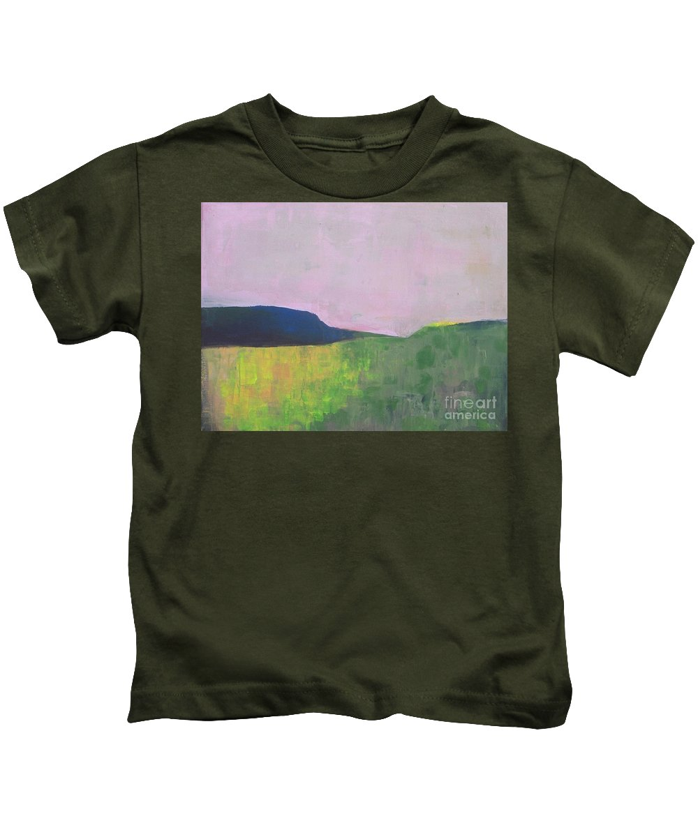 Abstract Landscape Kids T-Shirt featuring the painting Summer Valey by Vesna Antic