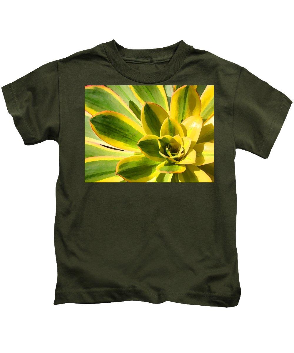 Landscape Kids T-Shirt featuring the photograph Sunburst Succulent Close-up 2 by Amy Vangsgard