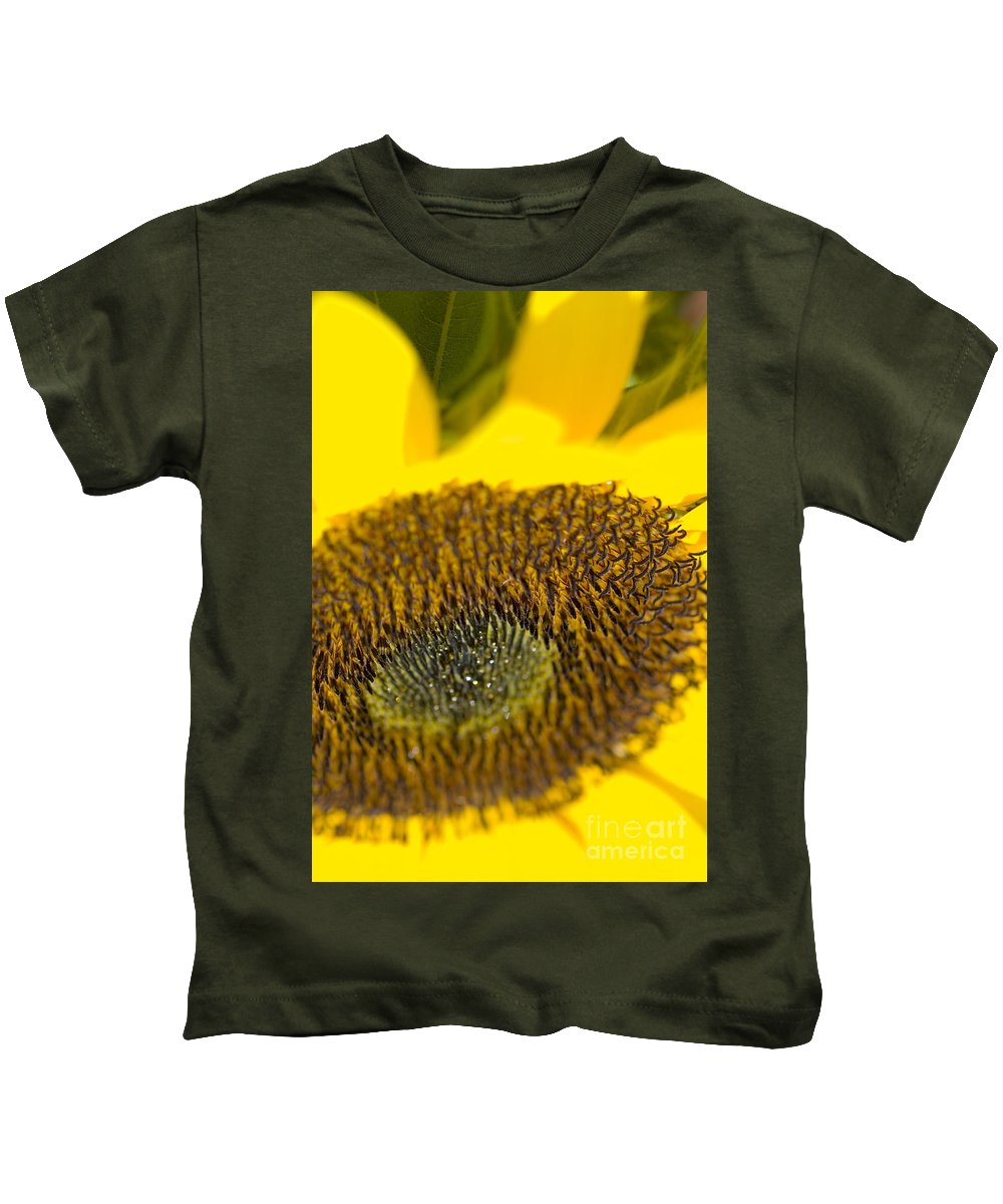 Abstract Kids T-Shirt featuring the photograph Sunflower Close-up by Ray Laskowitz - Printscapes