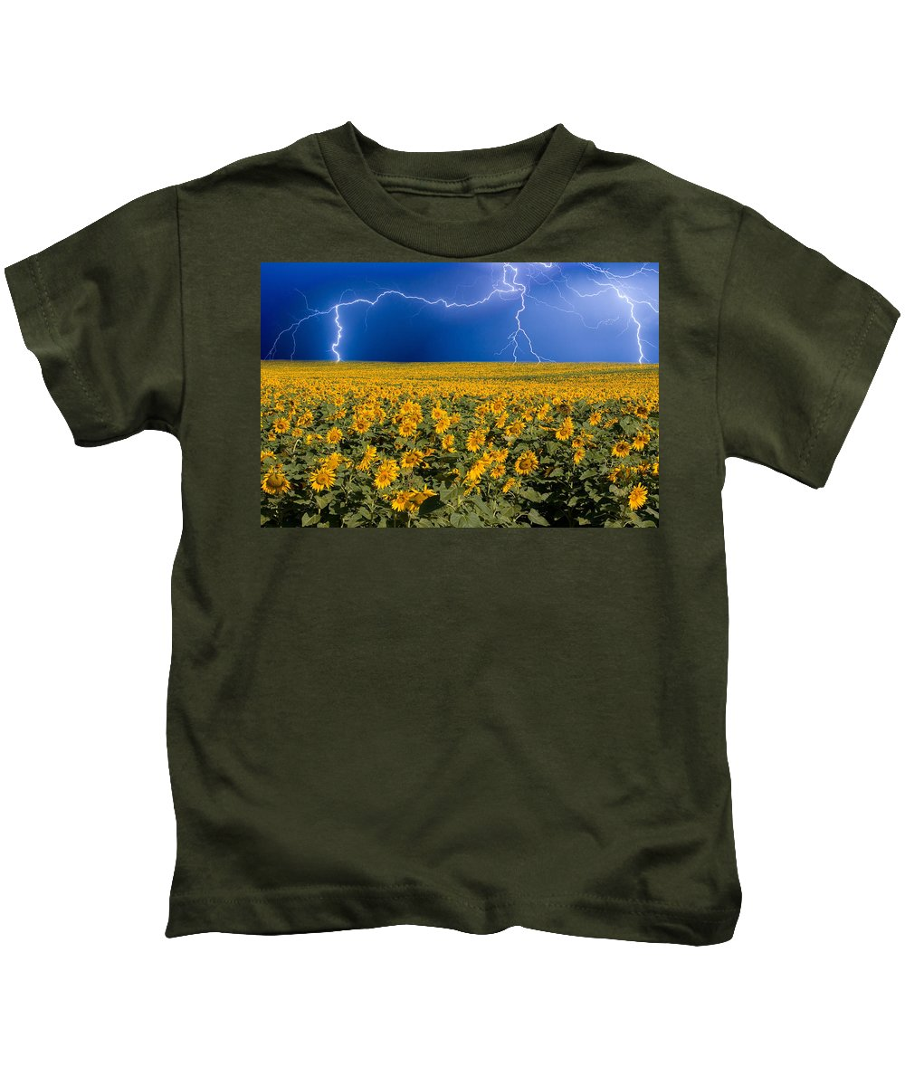 Sunflowers Kids T-Shirt featuring the photograph Sunflower Lightning Field by James BO Insogna