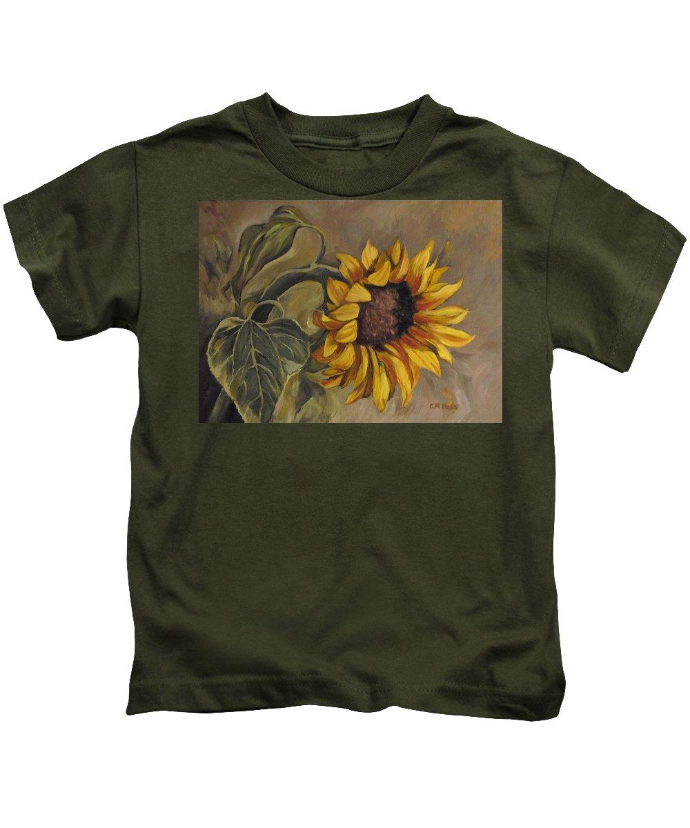 Sunflower Kids T-Shirt featuring the painting Sunflower Nod by Cheryl Pass