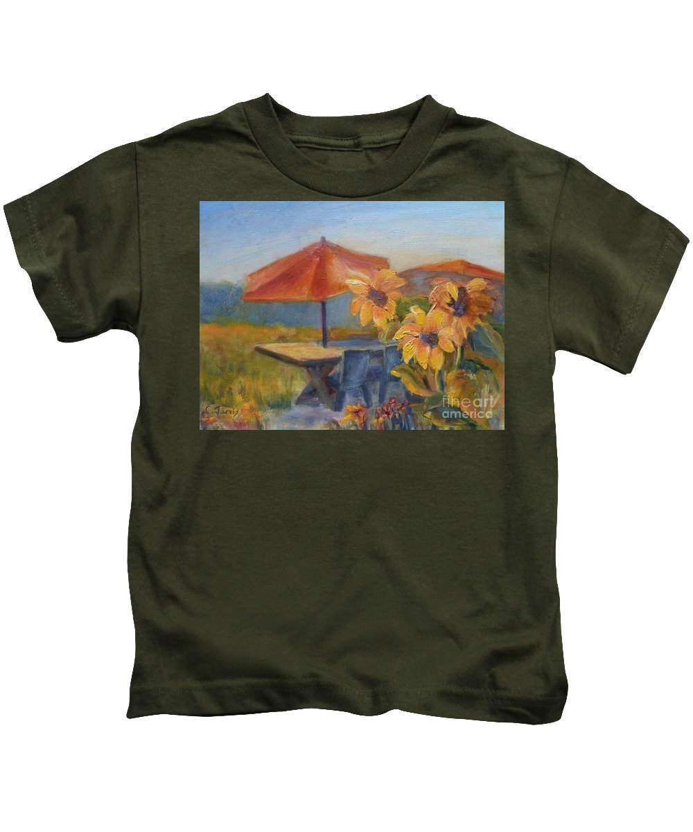 Sunflower Kids T-Shirt featuring the painting Sunflower Picnic by Carolyn Jarvis