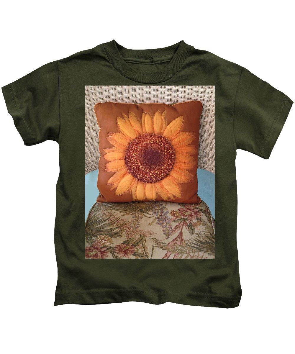 Pillow Kids T-Shirt featuring the photograph Sunflower Pillow by Dave Mills