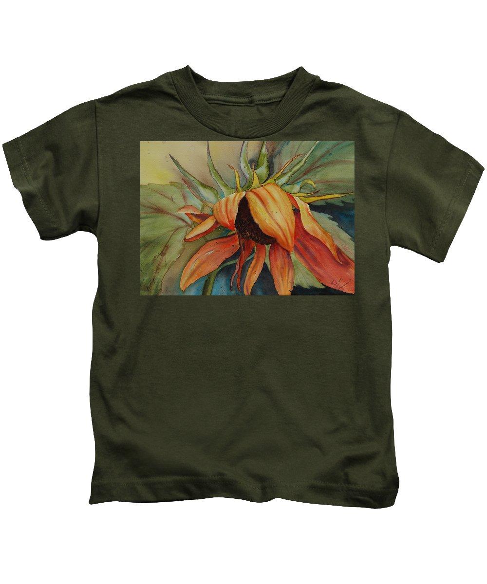 Sunflower Kids T-Shirt featuring the painting Sunflower by Ruth Kamenev