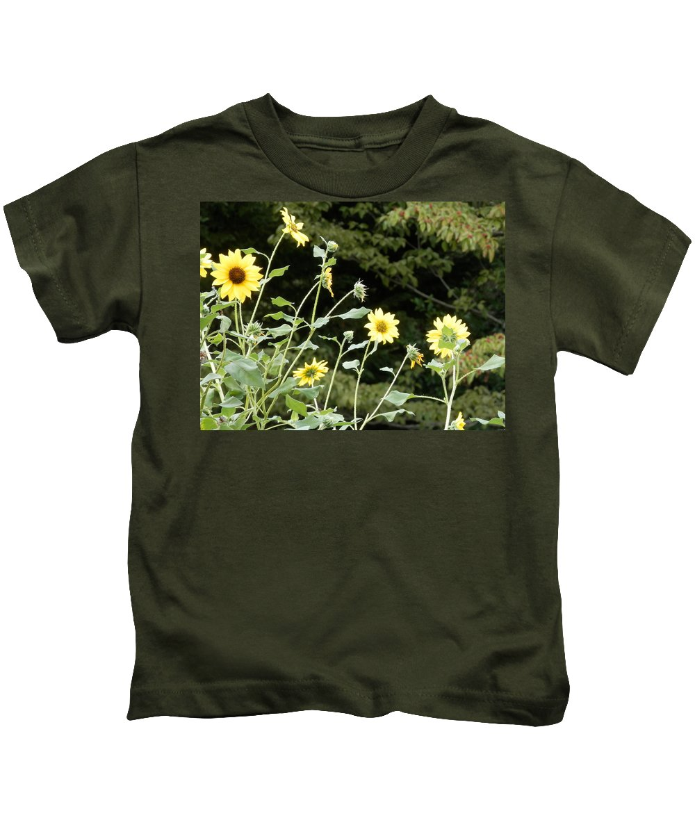 #bright Kids T-Shirt featuring the photograph Sunflower Sea Of Happiness by Belinda Lee