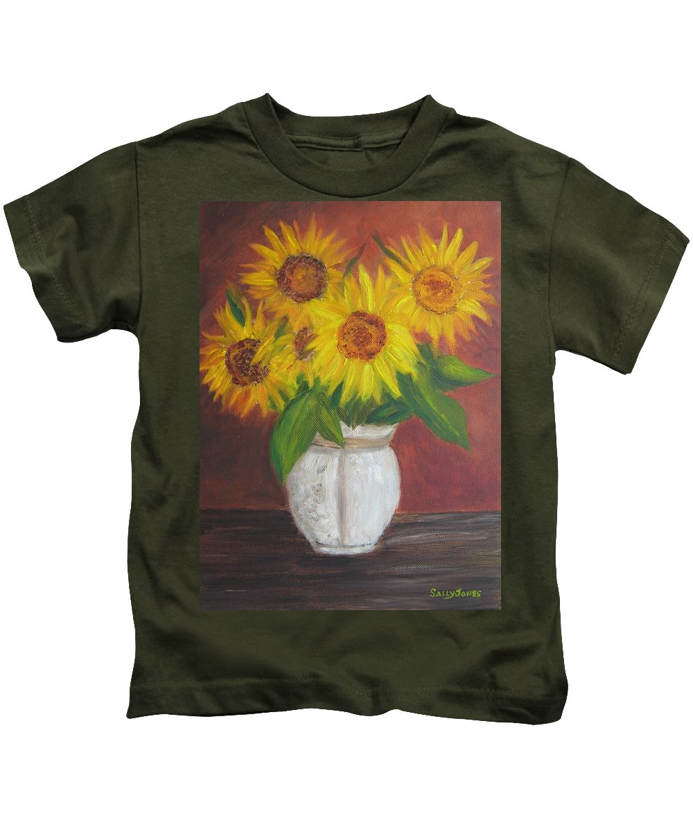 Sunflowers Kids T-Shirt featuring the painting Sunflowers In A Clay Pot by Sally Jones