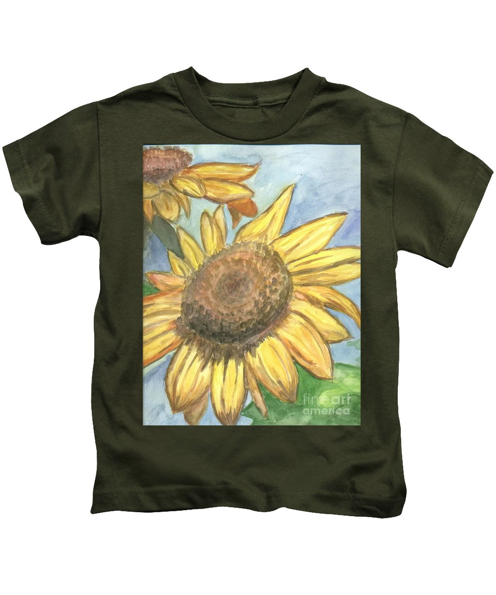 Daisy Kids T-Shirt featuring the painting Sunflowers by Jacqueline Athmann