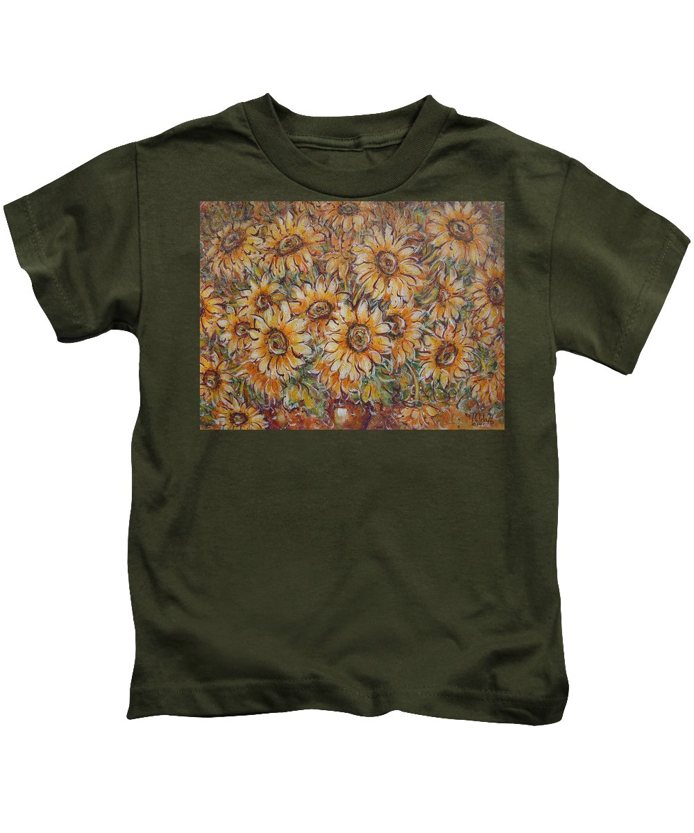 Flowers Kids T-Shirt featuring the painting Sunlight Bouquet. by Natalie Holland