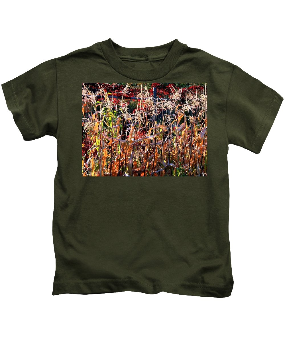 Fall Kids T-Shirt featuring the photograph Sunlit Fall Corn by Will Borden