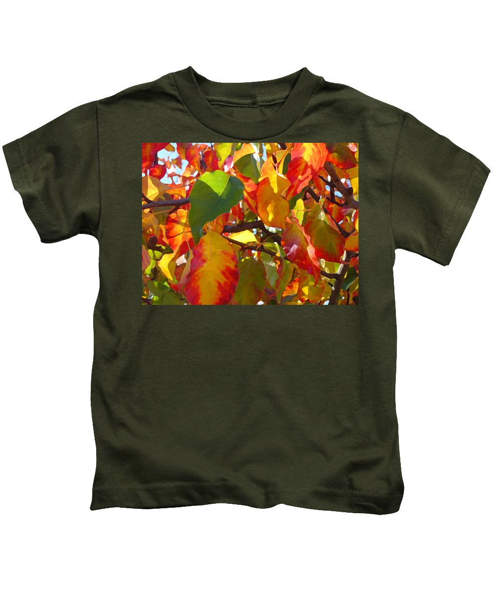 Fall Leaves Kids T-Shirt featuring the photograph Sunlit Fall Leaves by Amy Vangsgard