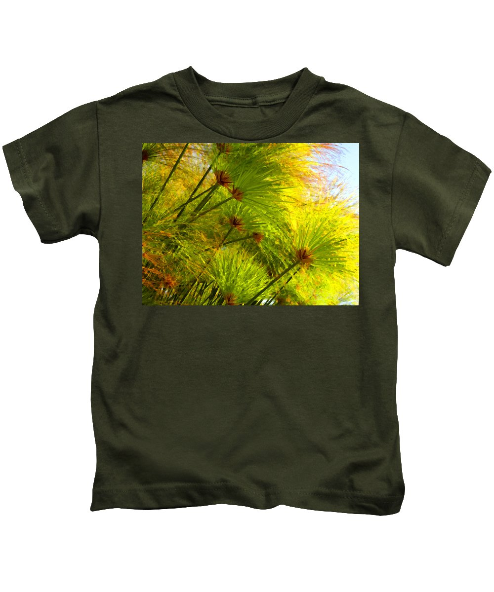 Landscape Kids T-Shirt featuring the painting Sunlit Paparus by Amy Vangsgard