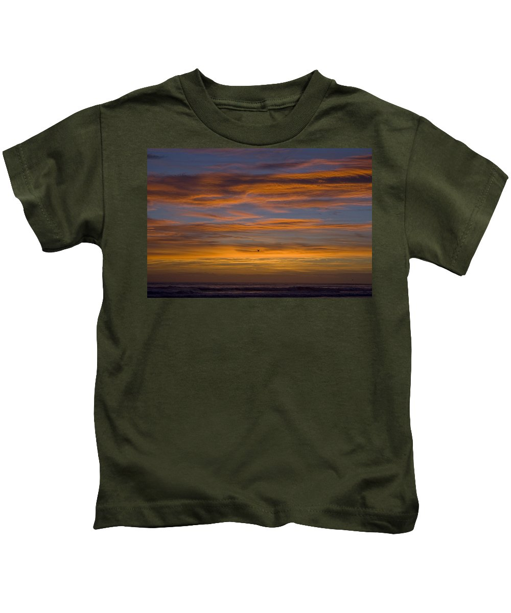 Sun Sunrise Cloud Clouds Morning Early Bright Orange Bird Flight Fly Flying Blue Ocean Water Waves Kids T-Shirt featuring the photograph Sunrise by Andrei Shliakhau