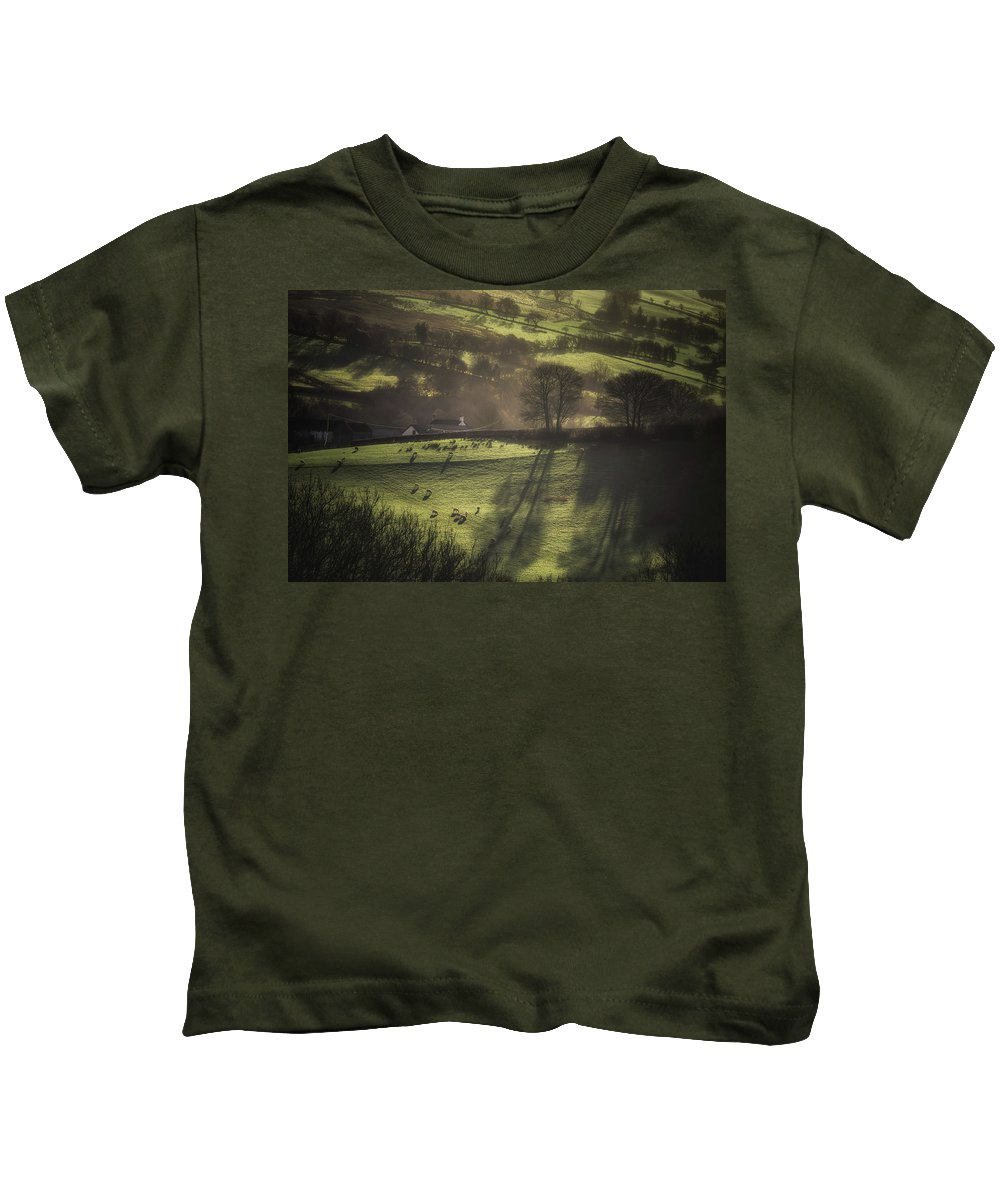 Agriculture Kids T-Shirt featuring the photograph Sunrise At The Sheep Farm by Chris Fletcher