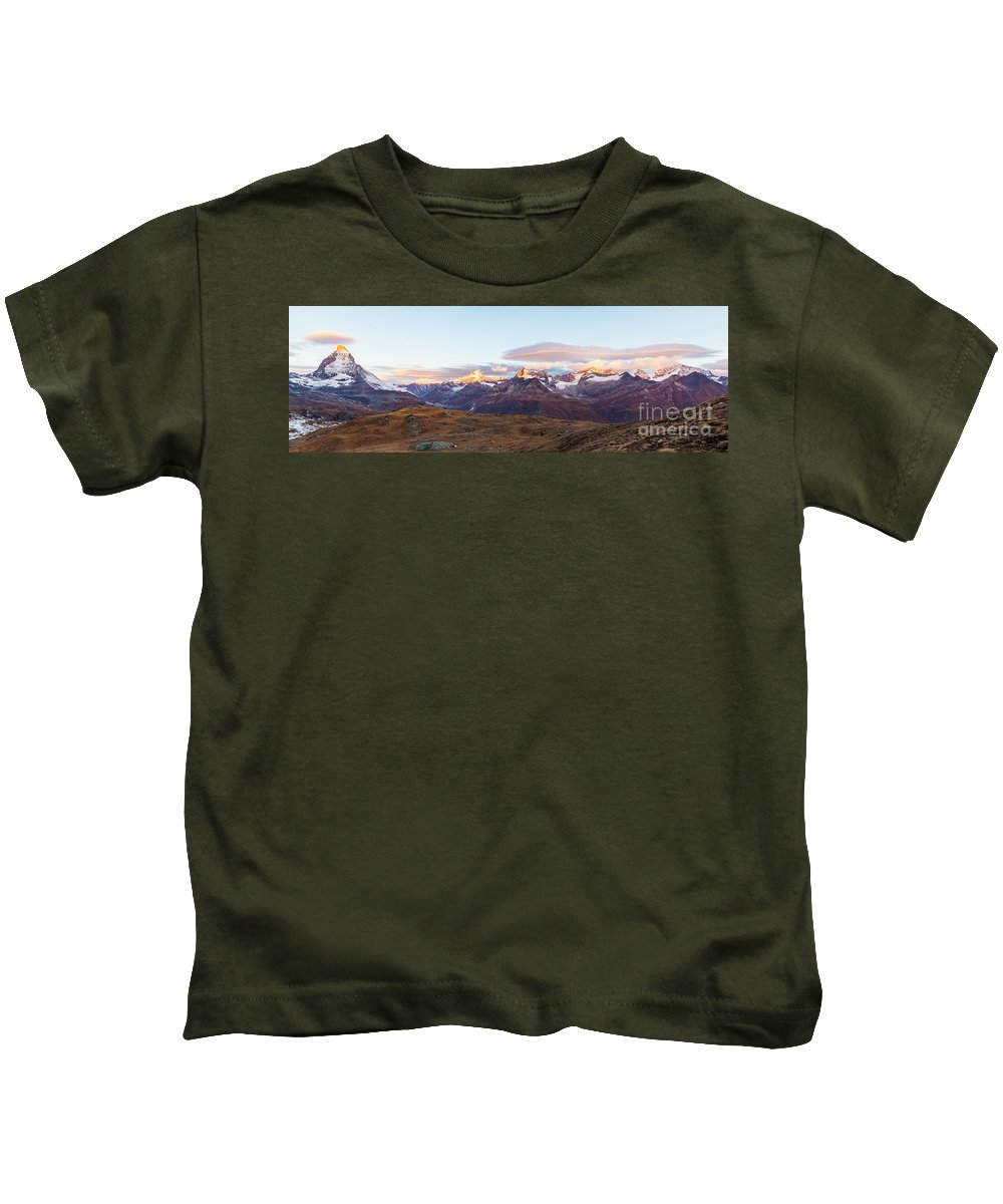 Europe Kids T-Shirt featuring the photograph Sunrise At The Swiss Alps by Werner Dieterich