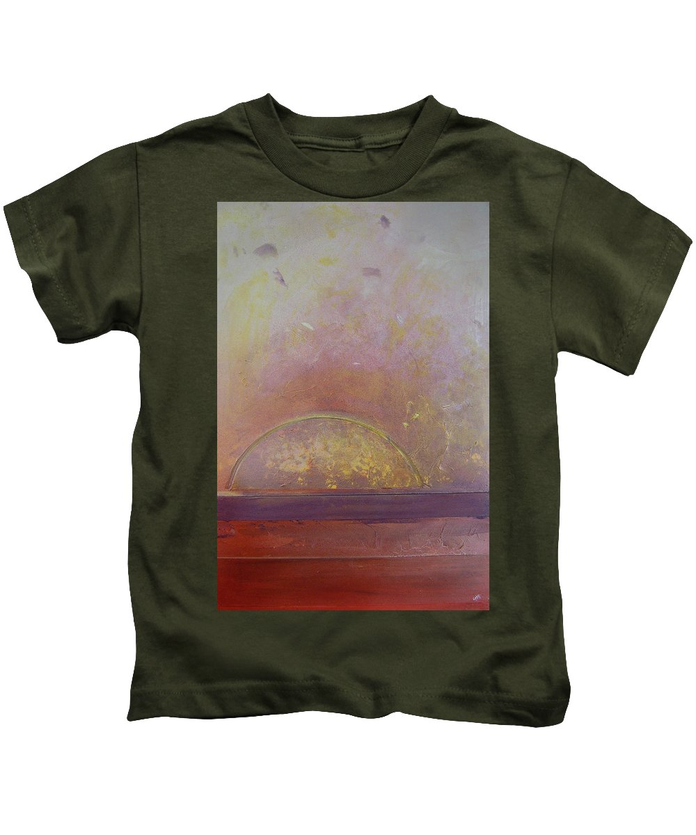 Canvas Kids T-Shirt featuring the painting Sunrise by Leah Hicks