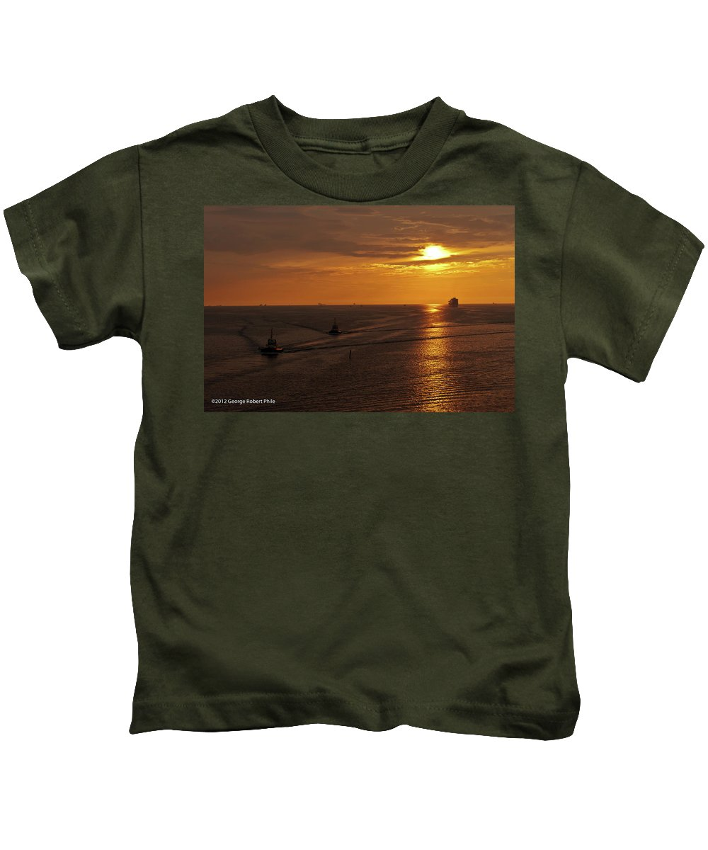 Ships Kids T-Shirt featuring the photograph Sunset - 34 by George Phile