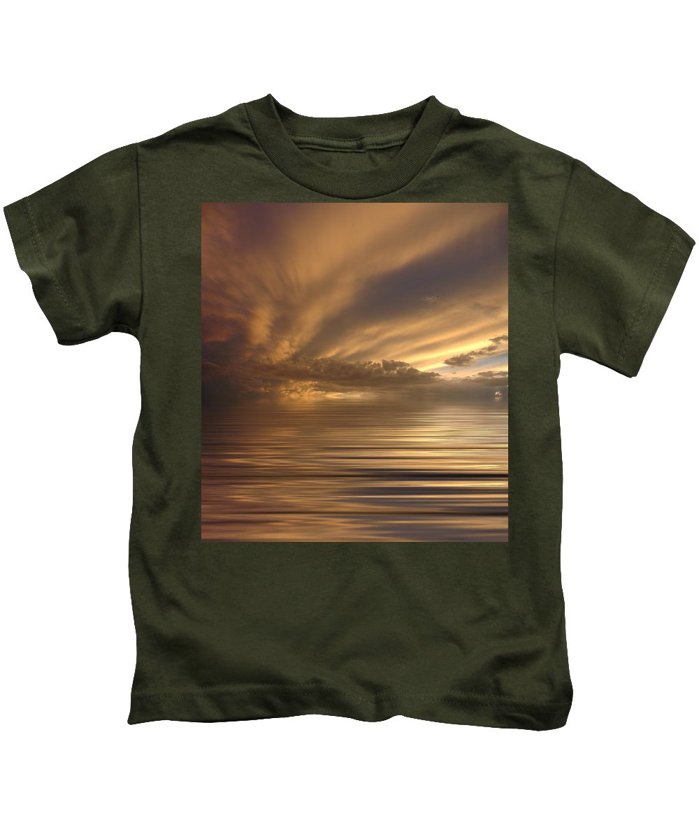 Sunset Kids T-Shirt featuring the photograph Sunset At Sea by Jerry McElroy