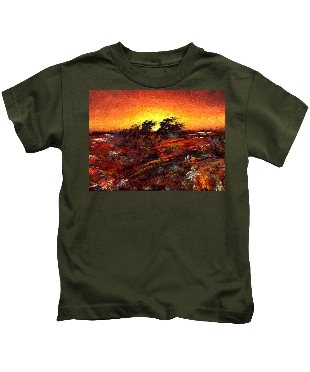 Abstract Digital Painting Kids T-Shirt featuring the digital art Sunset In Paradise by David Lane