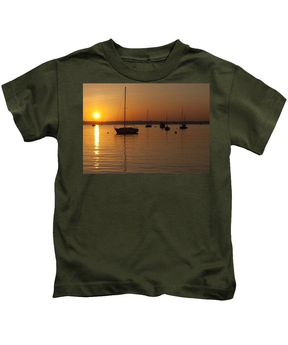 Sunset Kids T-Shirt featuring the photograph Sunset Newport Boats by Steven Natanson
